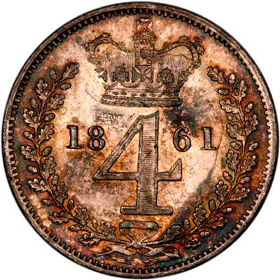 Reverse of 1861 Maundy Fourpence