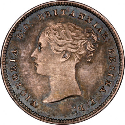 Obverse of 1865 Maundy Fourpence