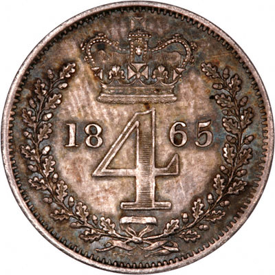 Reverse of 1865 Maundy Threepence