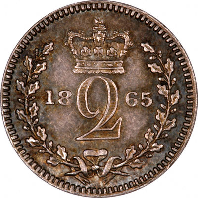 Reverse of 1865 Maundy Twopence