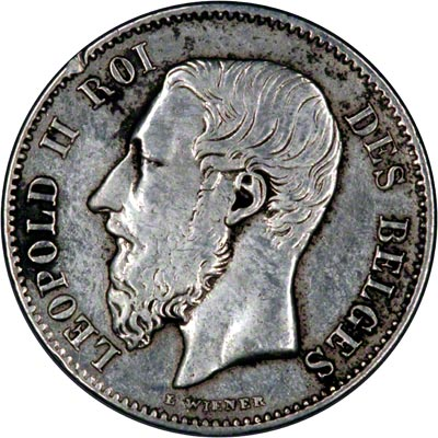 Obverse of 1866 Belgian 50 Centimes