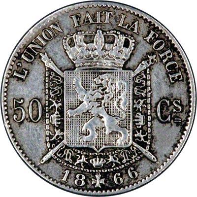 Reverse of 1866 Belgian 50 Centimes