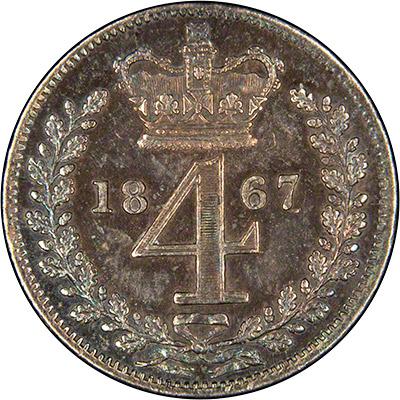 Reverse of 1867 Maundy Threepence