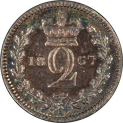Reverse of 1867 Maundy Twopence