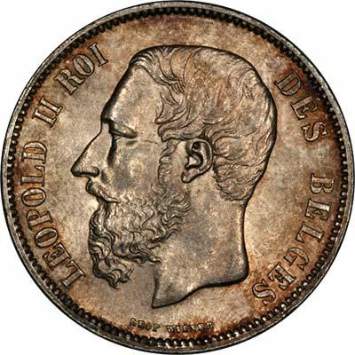 Leopold II on Obverse of 1868 Belgian Silver 5 Francs
