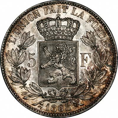 Reverse of 1868 Belgian Silver 5 Francs