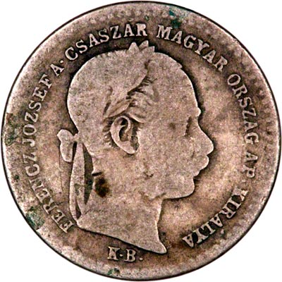 Obverse of 1869 Hungary 10 Krajczar