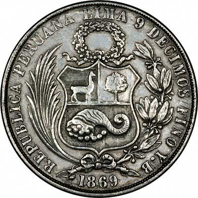 Obverse of 1869 Peru Silver 1 Sol