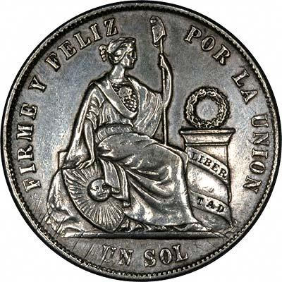 Reverse of 1869 Peru Silver 1 Sol