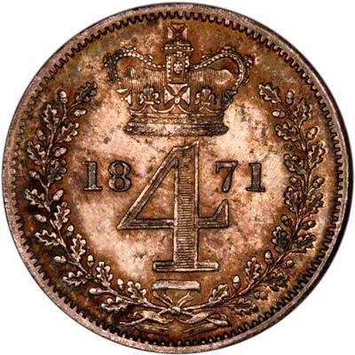 Reverse of 1871 Maundy Threepence