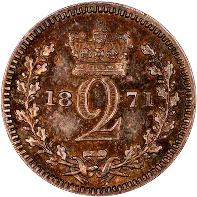 Reverse of 1871 Maundy Twopence