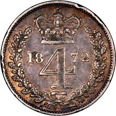 Reverse of 1872 Maundy Fourpence