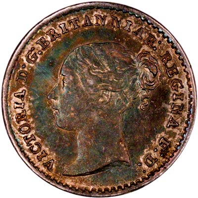 Obverse of 1872 Maundy One Penny