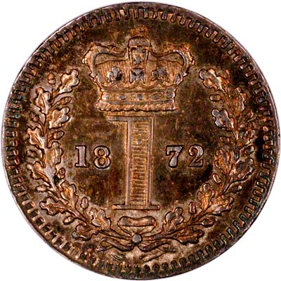Reverse of 1872 Maundy One Penny