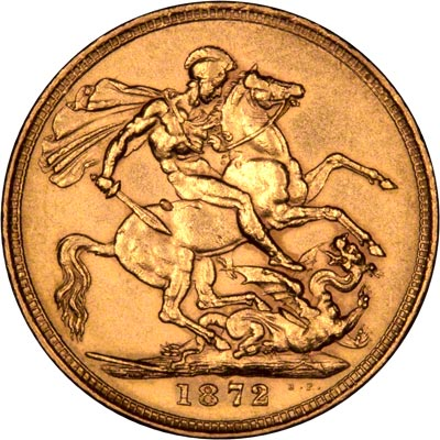 Reverse of 1872 Shield Sovereign