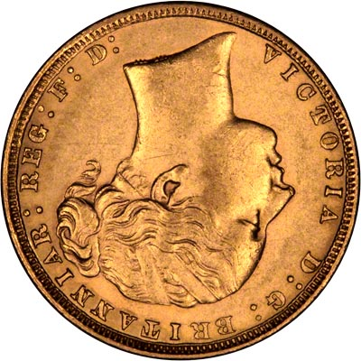 1872 Sovereign with Head Upside Down