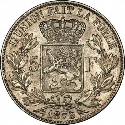 Reverse of 1873 Belgian Silver 5 Francs