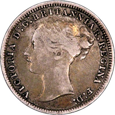 Obverse of 1874 Maundy Threepence