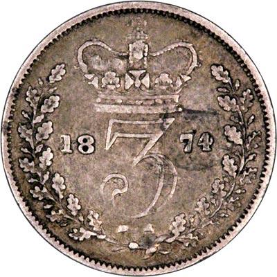 Reverse of 1874 Maundy Threepence