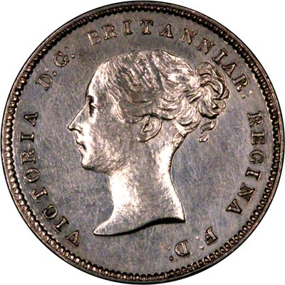 Obverse of 1875 Maundy Fourpence