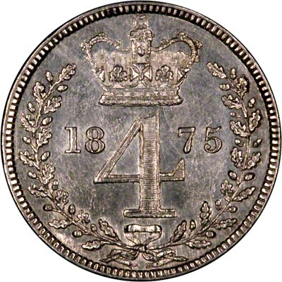 Reverse of 1845 Maundy Threepence