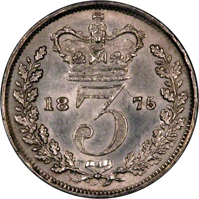 Reverse of 1875 Maundy Threepence