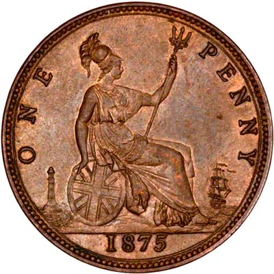 1875 one penny coin value