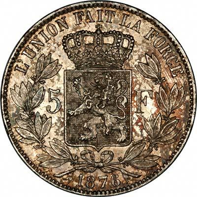 Reverse of 1876 Belgian Silver 5 Francs