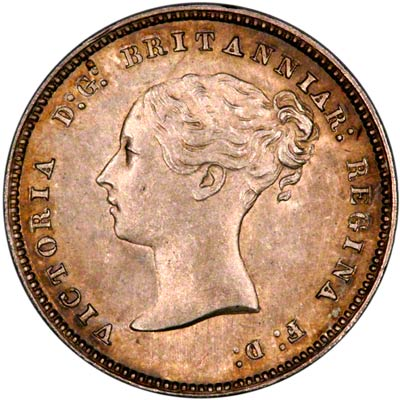 Obverse of 1876 Maundy Four Pence