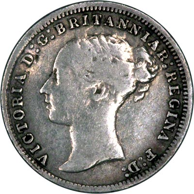 Obverse of 1876 Maundy Three Pence