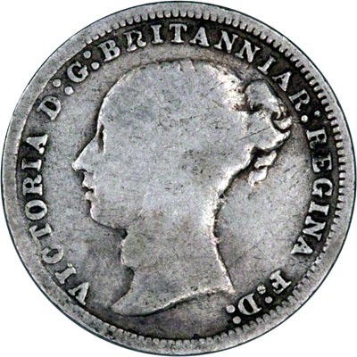 Obverse of 1877 Maundy Three Pence