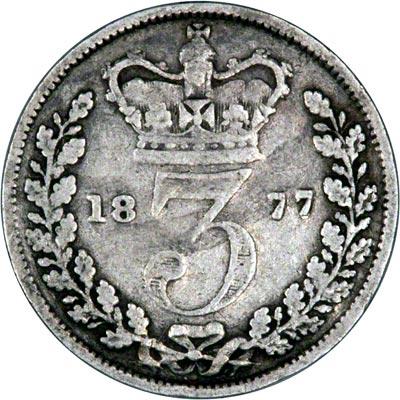 Reverse of 1877 Maundy Three Pence