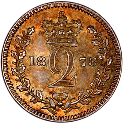 Reverse of 1878 Maundy Twopence