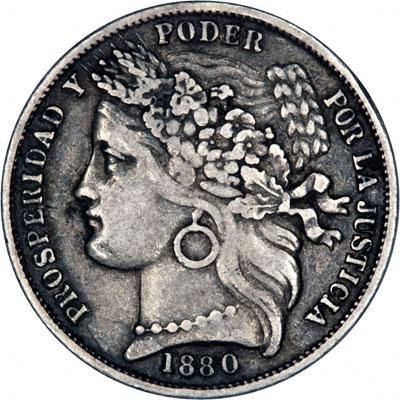 Obverse of 1880 Peru Silver Peseta