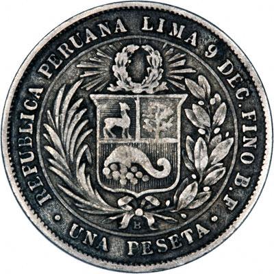 Reverse of 1880 Peru Silver Peseta