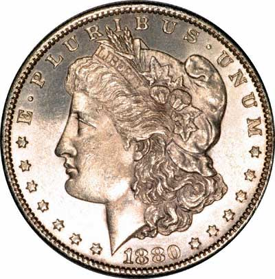 Obverse of US Morgan Silver Dollar 1880-S