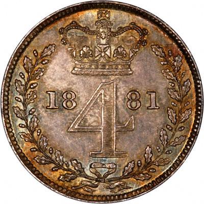 Reverse of 1881 Maundy Threepence