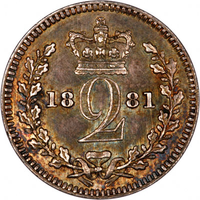 Reverse of 1881 Maundy Twopence