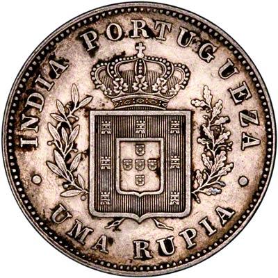 Reverse of 1882 India Rupee