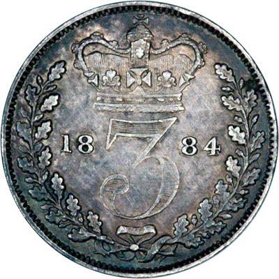 Reverse of 1884 Maundy Threepence
