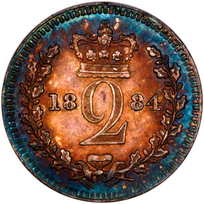 Reverse of 1884 Maundy Twopence