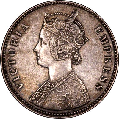 Obverse of 1885 India Silver One Rupee
