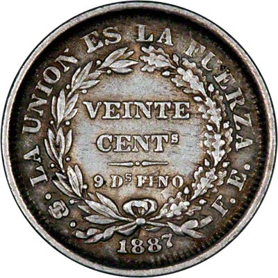 Reverse of 1887 Bolivian 20 Cents