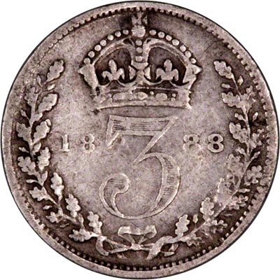 Reverse of 1888 Maundy Threepence