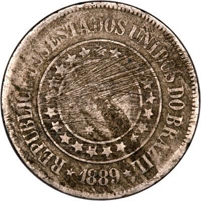 Obverse of 1889 Brazil 200 Reis