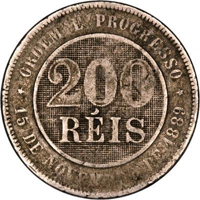 Reverse of 1889 Brazil 200 Reis