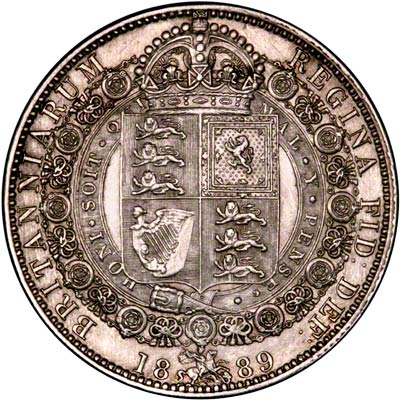 1889 Victoria Half Crown Reverse Featuring Honi Soit Qui Mal Y Pense.