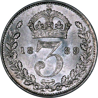 Reverse of 1889 Maundy Threepence