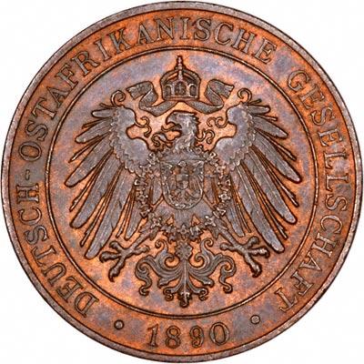 Obverse of 1890 German East Africa 1 Pesa