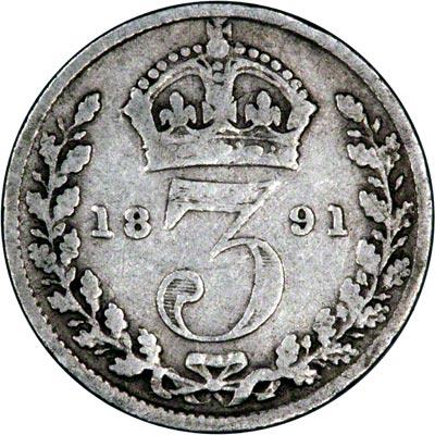 Reverse of 1891 Maundy Threepence